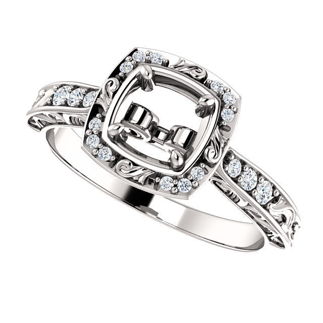 14K White 5.8 mm Round 1/10 CTW Diamond Semi-Set Engagement Ring* Quote does not include cost of center stone. *Prices are based on a standard melee diamond quality SI2-SI3, G-H. Exact pricing may be subject to change based on size, please contact an