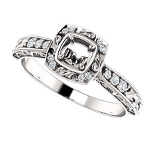 Load image into Gallery viewer, 14K White 4.1 mm Round 1/10 CTW Diamond Semi-Set Engagement Ring* Quote does not include cost of center stone. *Prices are based on a standard melee diamond quality SI2-SI3, G-H. Exact pricing may be subject to change based on size, please contact an