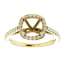 Load image into Gallery viewer, 14K Yellow 7 x 7 mm Cushion 1/3 CTW Diamond Semi-Set Engagement Ring* Quote does not include cost of center stone. *Prices are based on a standard melee diamond quality SI2-SI3, G-H. Exact pricing may be subject to change based on size, please contac