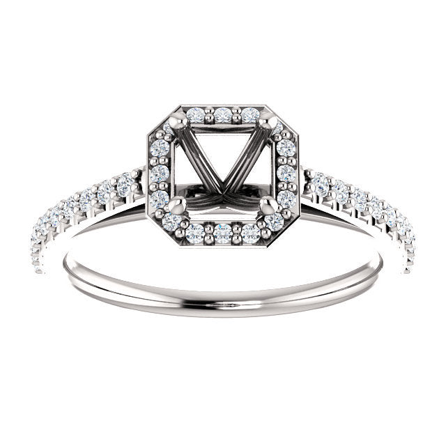 14K White 5x5 mm Asscher 1/4 CTW Diamond Semi-Set Engagement Ring * Quote does not include cost of center stone. *Prices are based on a standard melee diamond quality SI2-SI3, G-H. Exact pricing may be subject to change based on size, please contact