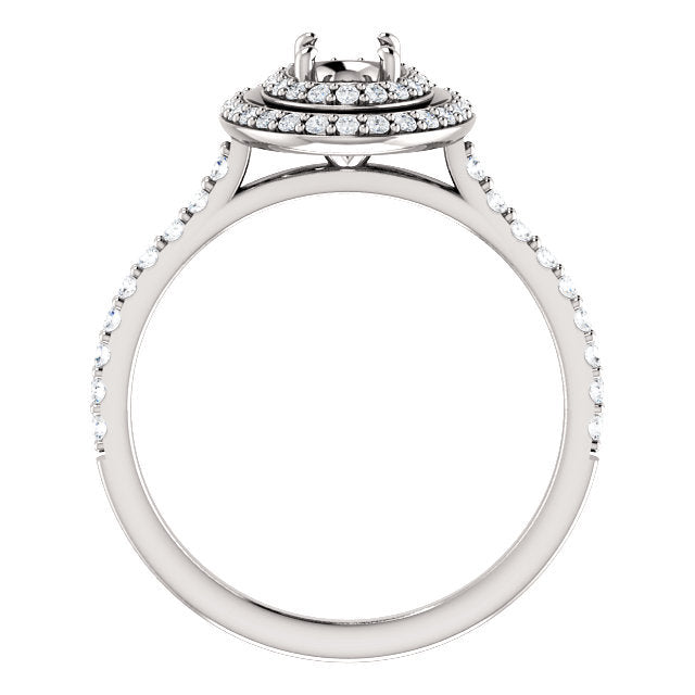 14K White 6x4 mm Oval 3/8 CTW Diamond Semi-Set Engagement Ring* Quote does not include cost of center stone. *Prices are based on a standard melee diamond quality SI2-SI3, G-H. Exact pricing may be subject to change based on size, please contact an E