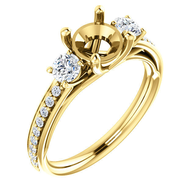 14K Yellow 6.5 mm Round 1/2 CTW Diamond Semi-Set Engagement Ring* Quote does not include cost of center stone. *Prices are based on a standard melee diamond quality SI2-SI3, G-H. Exact pricing may be subject to change based on size, please contact an