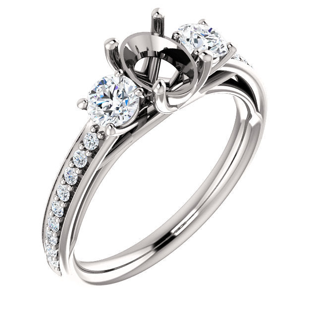 Platinum 7x5 mm Oval 1/2 CTW Diamond Semi-Set Engagement Ring* Quote does not include cost of center stone. *Prices are based on a standard melee diamond quality SI2-SI3, G-H. Exact pricing may be subject to change based on size, please contact an Ev