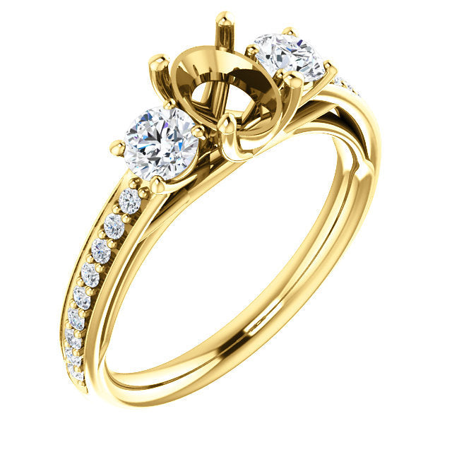 14K Yellow 7x5 mm Oval 1/2 CTW Diamond Semi-Set Engagement Ring* Quote does not include cost of center stone. *Prices are based on a standard melee diamond quality SI2-SI3, G-H. Exact pricing may be subject to change based on size, please contact an