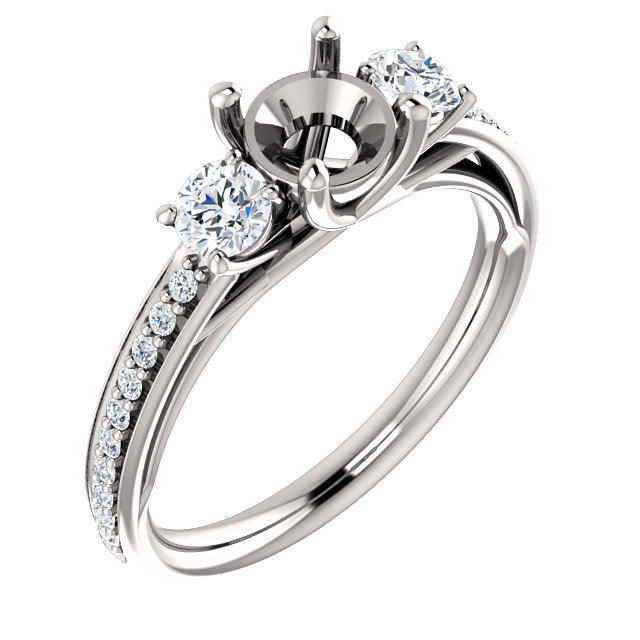 18K White 5.8 mm Round 1/2 CTW Diamond Semi-Set Engagement Ring* Quote does not include cost of center stone. *Prices are based on a standard melee diamond quality SI2-SI3, G-H. Exact pricing may be subject to change based on size, please contact an