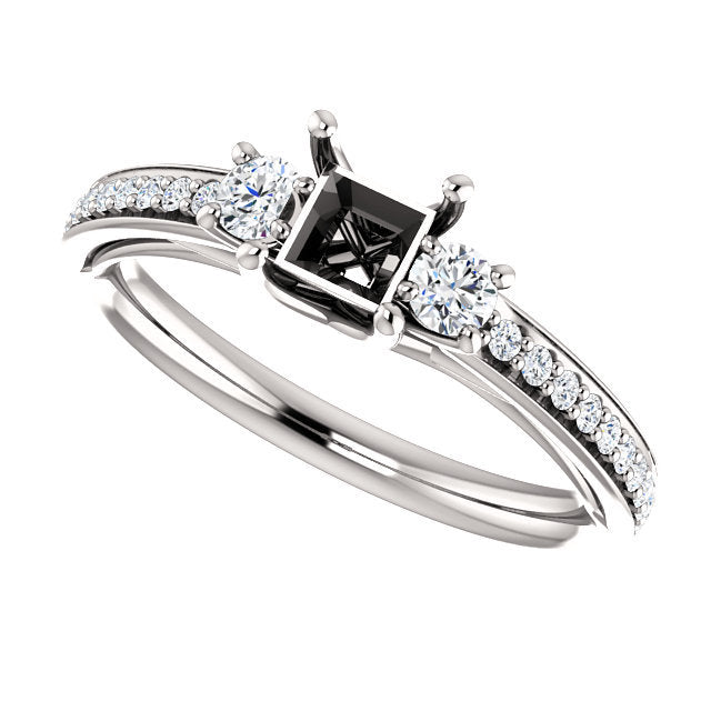 Platinum 4x4 mm Square 1/3 CTW Diamond Semi-mount Engagement Ring* Quote does not include cost of center stone. *Prices are based on a standard melee diamond quality SI2-SI3, G-H. Exact pricing may be subject to change based on size, please contact a