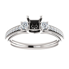Load image into Gallery viewer, Platinum 4x4 mm Square 1/3 CTW Diamond Semi-mount Engagement Ring* Quote does not include cost of center stone. *Prices are based on a standard melee diamond quality SI2-SI3, G-H. Exact pricing may be subject to change based on size, please contact a