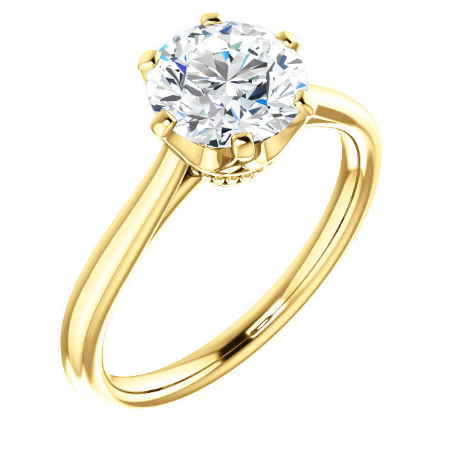 18K Yellow 8.2 mm Round Engagement Ring Mounting* Quote does not include cost of center stone. *Prices are based on a standard melee diamond quality SI2-SI3, G-H. Exact pricing may be subject to change based on size, please contact an Ever&Ever retai