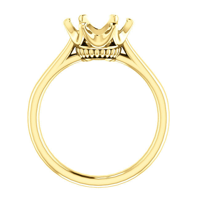 14K Yellow 9 mm Round Engagement Ring Mounting* Quote does not include cost of center stone. *Prices are based on a standard melee diamond quality SI2-SI3, G-H. Exact pricing may be subject to change based on size, please contact an Ever&Ever retaile