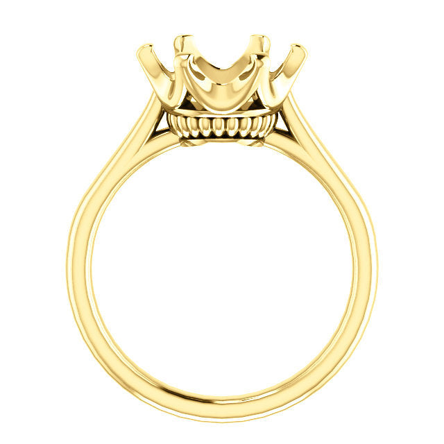 18K Yellow 10 mm Round Engagement Ring Mounting* Quote does not include cost of center stone. *Prices are based on a standard melee diamond quality SI2-SI3, G-H. Exact pricing may be subject to change based on size, please contact an Ever&Ever retail