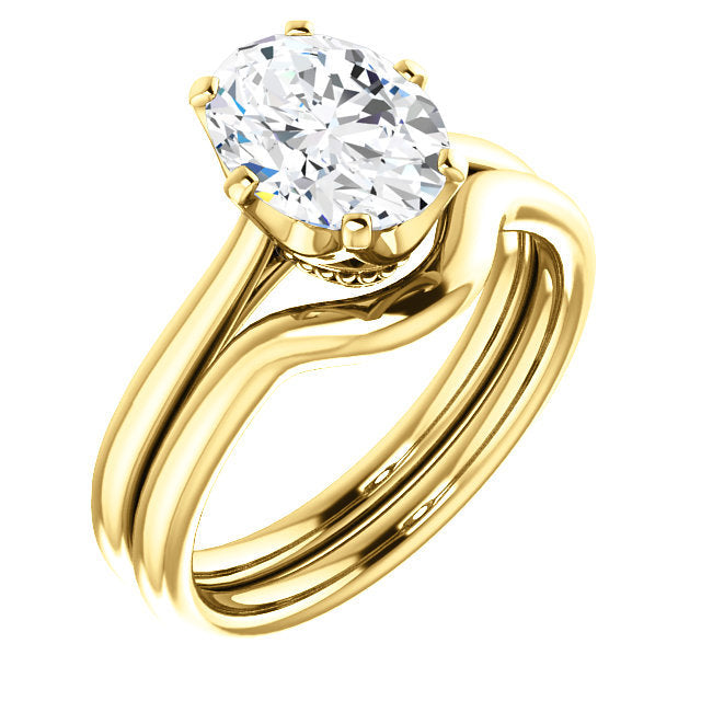18K Yellow 9x7 mm Oval Engagement Ring Mounting* Quote does not include cost of center stone. *Prices are based on a standard melee diamond quality SI2-SI3, G-H. Exact pricing may be subject to change based on size, please contact an Ever&Ever retail