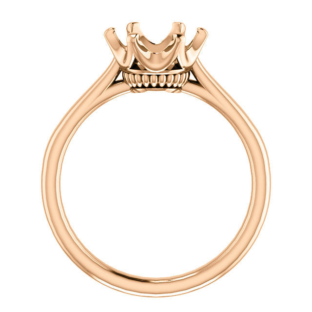 14K Rose 8.2 mm Round Engagement Ring Mounting* Quote does not include cost of center stone. *Prices are based on a standard melee diamond quality SI2-SI3, G-H. Exact pricing may be subject to change based on size, please contact an Ever&Ever retaile
