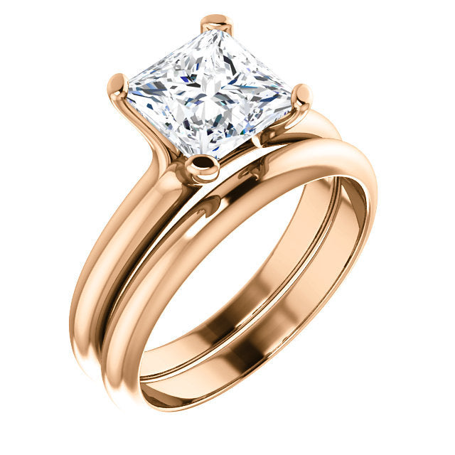 18K Rose 7x7 mm Square Solitaire Engagement Ring Mounting* Quote does not include cost of center stone. *Prices are based on a standard melee diamond quality SI2-SI3, G-H. Exact pricing may be subject to change based on size, please contact an Ever&E