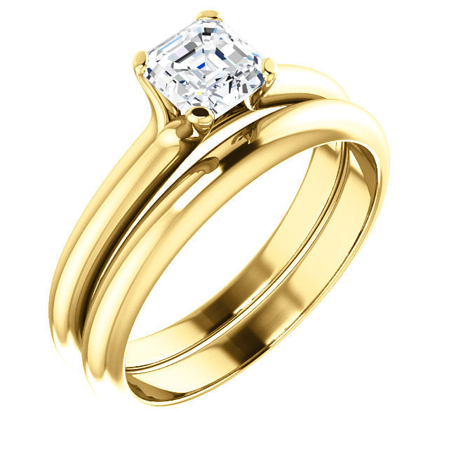 14K Yellow 5x5 mm Asscher Solitaire Engagement Ring Mounting* Quote does not include cost of center stone. *Prices are based on a standard melee diamond quality SI2-SI3, G-H. Exact pricing may be subject to change based on size, please contact an Eve