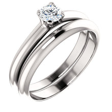 Load image into Gallery viewer, 18K White 4.1 mm Round Solitaire Engagement Ring Mounting* Quote does not include cost of center stone. *Prices are based on a standard melee diamond quality SI2-SI3, G-H. Exact pricing may be subject to change based on size, please contact an Ever&E