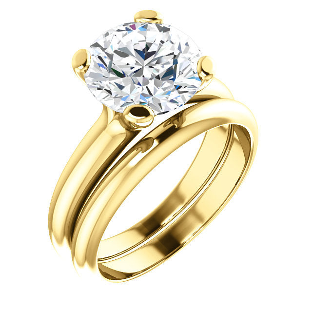 14K Yellow 9.4 mm Round Solitaire Engagement Ring Mounting* Quote does not include cost of center stone. *Prices are based on a standard melee diamond quality SI2-SI3, G-H. Exact pricing may be subject to change based on size, please contact an Ever&