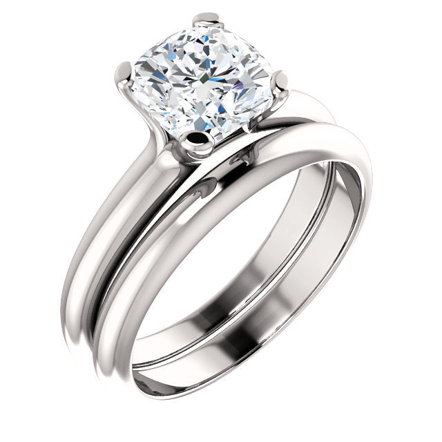Platinum 7x7 mm Cushion Solitaire Engagement Ring Mounting* Quote does not include cost of center stone. *Prices are based on a standard melee diamond quality SI2-SI3, G-H. Exact pricing may be subject to change based on size, please contact an Ever&