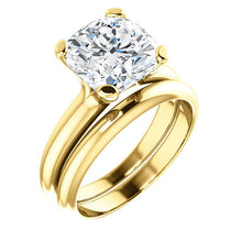 Load image into Gallery viewer, 14K Yellow 9x9 mm Cushion Solitaire Engagement Ring Mounting* Quote does not include cost of center stone. *Prices are based on a standard melee diamond quality SI2-SI3, G-H. Exact pricing may be subject to change based on size, please contact an Eve