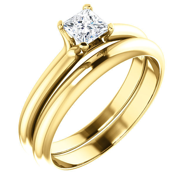 18K Yellow 4x4 mm Square Solitaire Engagement Ring Mounting* Quote does not include cost of center stone. *Prices are based on a standard melee diamond quality SI2-SI3, G-H. Exact pricing may be subject to change based on size, please contact an Ever