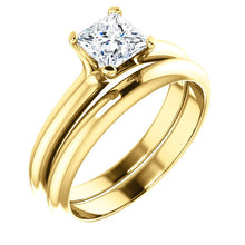 Load image into Gallery viewer, 14K Yellow 5x5 mm Square Solitaire Engagement Ring Mounting* Quote does not include cost of center stone. *Prices are based on a standard melee diamond quality SI2-SI3, G-H. Exact pricing may be subject to change based on size, please contact an Ever