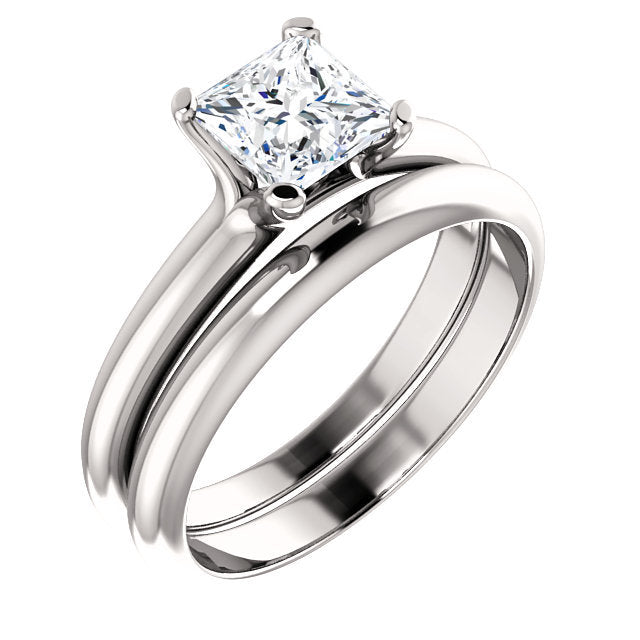Platinum 5.5x5.5 mm Square Solitaire Engagement Ring Mounting* Quote does not include cost of center stone. *Prices are based on a standard melee diamond quality SI2-SI3, G-H. Exact pricing may be subject to change based on size, please contact an Ev
