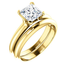Load image into Gallery viewer, 18K Yellow 6x6 mm Square Solitaire Engagement Ring Mounting* Quote does not include cost of center stone. *Prices are based on a standard melee diamond quality SI2-SI3, G-H. Exact pricing may be subject to change based on size, please contact an Ever
