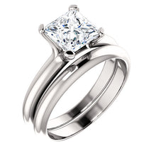 Load image into Gallery viewer, 18K White 6.5x6.5 mm Square Solitaire Engagement Ring Mounting* Quote does not include cost of center stone. *Prices are based on a standard melee diamond quality SI2-SI3, G-H. Exact pricing may be subject to change based on size, please contact an E