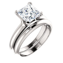 Load image into Gallery viewer, 14K White 7x7 mm Square Solitaire Engagement Ring Mounting* Quote does not include cost of center stone. *Prices are based on a standard melee diamond quality SI2-SI3, G-H. Exact pricing may be subject to change based on size, please contact an Ever&