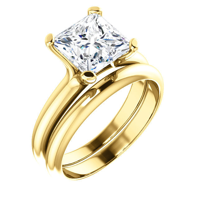 14K Yellow 7.5x7.5 mm Square Solitaire Engagement Ring Mounting* Quote does not include cost of center stone. *Prices are based on a standard melee diamond quality SI2-SI3, G-H. Exact pricing may be subject to change based on size, please contact an
