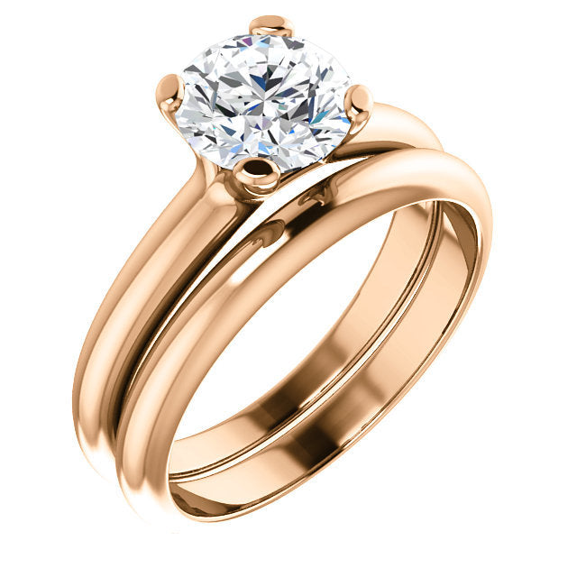 14K Rose 7 mm Round Solitaire Engagement Ring Mounting* Quote does not include cost of center stone. *Prices are based on a standard melee diamond quality SI2-SI3, G-H. Exact pricing may be subject to change based on size, please contact an Ever&Ever