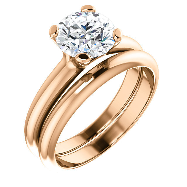 14K Rose 7.4 mm Round Solitaire Engagement Ring Mounting* Quote does not include cost of center stone. *Prices are based on a standard melee diamond quality SI2-SI3, G-H. Exact pricing may be subject to change based on size, please contact an Ever&Ev