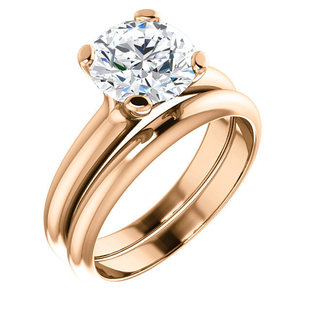 14K Rose 8.2 mm Round Solitaire Engagement Ring Mounting* Quote does not include cost of center stone. *Prices are based on a standard melee diamond quality SI2-SI3, G-H. Exact pricing may be subject to change based on size, please contact an Ever&Ev