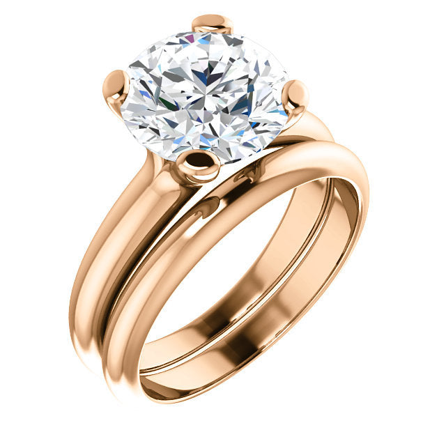 14K Rose 9.4 mm Round Solitaire Engagement Ring Mounting* Quote does not include cost of center stone. *Prices are based on a standard melee diamond quality SI2-SI3, G-H. Exact pricing may be subject to change based on size, please contact an Ever&Ev