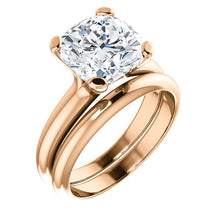Load image into Gallery viewer, 18K Rose 9x9 mm Cushion Solitaire Engagement Ring Mounting* Quote does not include cost of center stone. *Prices are based on a standard melee diamond quality SI2-SI3, G-H. Exact pricing may be subject to change based on size, please contact an Ever&