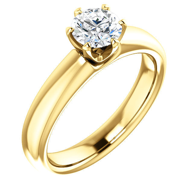 14K Yellow 5.2 mm Round Engagement Ring Mounting* Quote does not include cost of center stone. *Prices are based on a standard melee diamond quality SI2-SI3, G-H. Exact pricing may be subject to change based on size, please contact an Ever&Ever retai