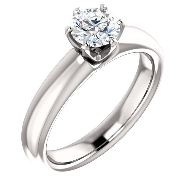 18K White 5.2 mm Round Engagement Ring Mounting* Quote does not include cost of center stone. *Prices are based on a standard melee diamond quality SI2-SI3, G-H. Exact pricing may be subject to change based on size, please contact an Ever&Ever retail