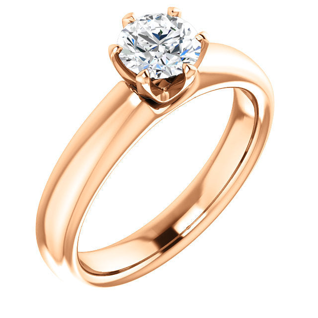 18K Rose 6 mm Round Engagement Ring Mounting* Quote does not include cost of center stone. *Prices are based on a standard melee diamond quality SI2-SI3, G-H. Exact pricing may be subject to change based on size, please contact an Ever&Ever retailer