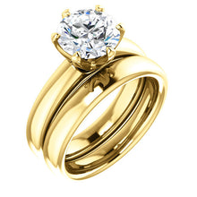 Load image into Gallery viewer, 14K Yellow 8.2 mm Round Engagement Ring Mounting* Quote does not include cost of center stone. *Prices are based on a standard melee diamond quality SI2-SI3, G-H. Exact pricing may be subject to change based on size, please contact an Ever&Ever retai