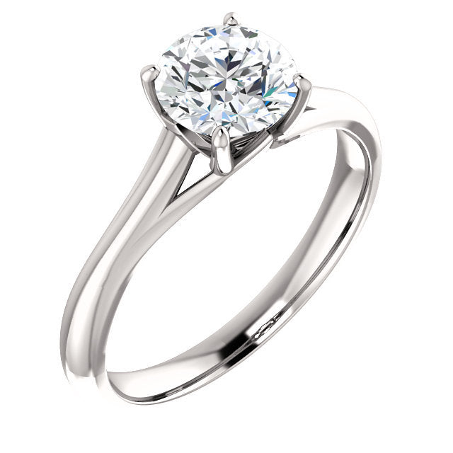 14K White 10x8 mm Oval Solitaire Engagement Ring Mounting* Quote does not include cost of center stone. *Prices are based on a standard melee diamond quality SI2-SI3, G-H. Exact pricing may be subject to change based on size, please contact an Ever&E