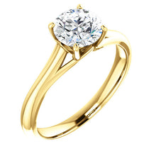 Load image into Gallery viewer, 14K Yellow 5 mm Cushion Solitaire Engagement Ring Mounting* Quote does not include cost of center stone. *Prices are based on a standard melee diamond quality SI2-SI3, G-H. Exact pricing may be subject to change based on size, please contact an Ever&