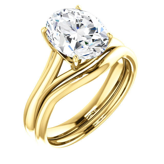 14K Yellow 10x8 mm Oval Solitaire Engagement Ring Mounting* Quote does not include cost of center stone. *Prices are based on a standard melee diamond quality SI2-SI3, G-H. Exact pricing may be subject to change based on size, please contact an Ever&
