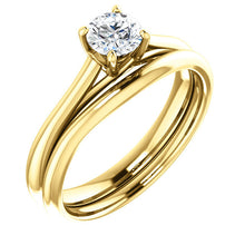 Load image into Gallery viewer, 14K Yellow 4.8 mm Round Solitaire Engagement Ring Mounting* Quote does not include cost of center stone. *Prices are based on a standard melee diamond quality SI2-SI3, G-H. Exact pricing may be subject to change based on size, please contact an Ever&