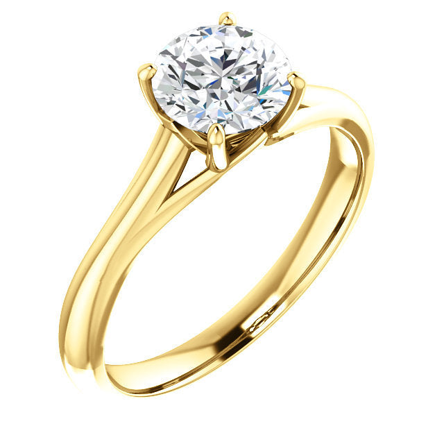 14K Yellow 9 mm Round Solitaire Engagement Ring Mounting* Quote does not include cost of center stone. *Prices are based on a standard melee diamond quality SI2-SI3, G-H. Exact pricing may be subject to change based on size, please contact an Ever&Ev