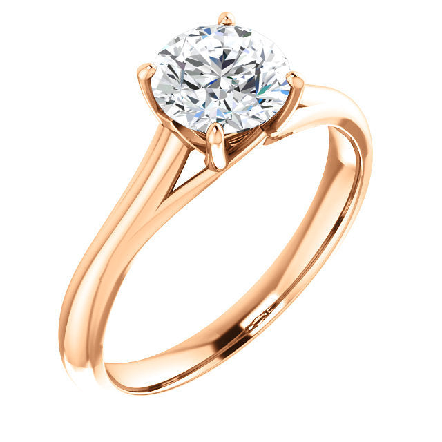 18K Rose 5 mm Cushion Solitaire Engagement Ring Mounting* Quote does not include cost of center stone. *Prices are based on a standard melee diamond quality SI2-SI3, G-H. Exact pricing may be subject to change based on size, please contact an Ever&Ev