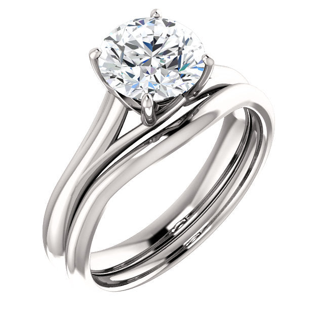 18K White 7.4 mm Round Solitaire Engagement Ring Mounting* Quote does not include cost of center stone. *Prices are based on a standard melee diamond quality SI2-SI3, G-H. Exact pricing may be subject to change based on size, please contact an Ever&E
