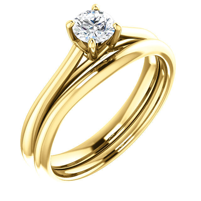 18K Yellow 4.4 mm Round Solitaire Engagement Ring Mounting* Quote does not include cost of center stone. *Prices are based on a standard melee diamond quality SI2-SI3, G-H. Exact pricing may be subject to change based on size, please contact an Ever&