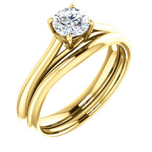 Load image into Gallery viewer, 18K Yellow 5.2 mm Round Solitaire Engagement Ring Mounting* Quote does not include cost of center stone. *Prices are based on a standard melee diamond quality SI2-SI3, G-H. Exact pricing may be subject to change based on size, please contact an Ever&
