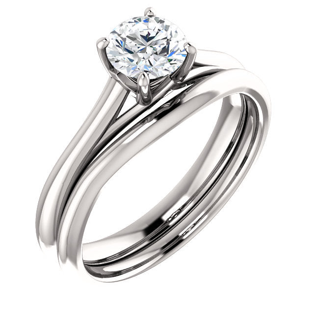 Platinum 5.5 mm Round Solitaire Engagement Ring Mounting* Quote does not include cost of center stone. *Prices are based on a standard melee diamond quality SI2-SI3, G-H. Exact pricing may be subject to change based on size, please contact an Ever&Ev