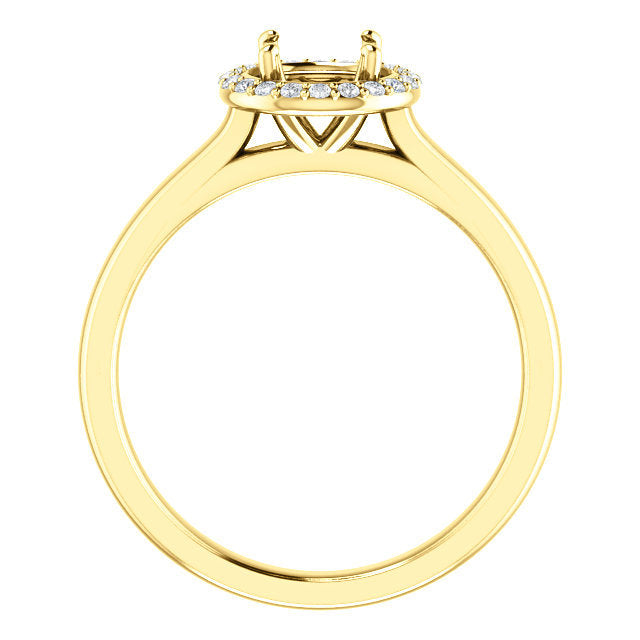 18K Yellow 5.8 mm Round 1/10 CTW Diamond Semi-Set Engagement Ring* Quote does not include cost of center stone. *Prices are based on a standard melee diamond quality SI2-SI3, G-H. Exact pricing may be subject to change based on size, please contact a