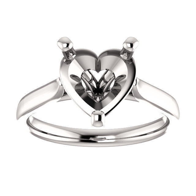 14K White 9x9 mm Heart Engagement Ring Mounting* Quote does not include cost of center stone. *Prices are based on a standard melee diamond quality SI2-SI3, G-H. Exact pricing may be subject to change based on size, please contact an Ever&Ever retail